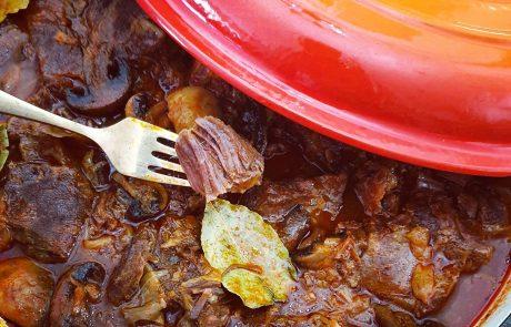 קוביות בשר צלי ברוטב פטריות בצל וערמונים